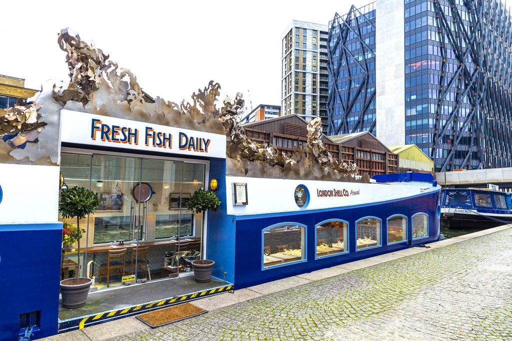 London Shell Co fish and seafood restaurant barge moored near Paddington, London, UK