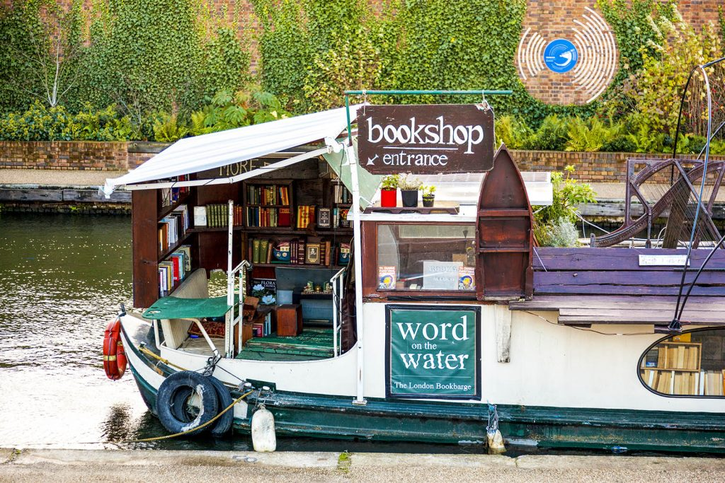 Word on Water bookshop canal boat, London, UK