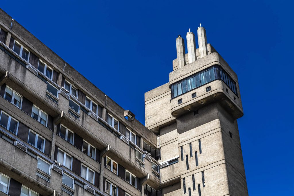 Close-up of Glenkerry House service tower, London