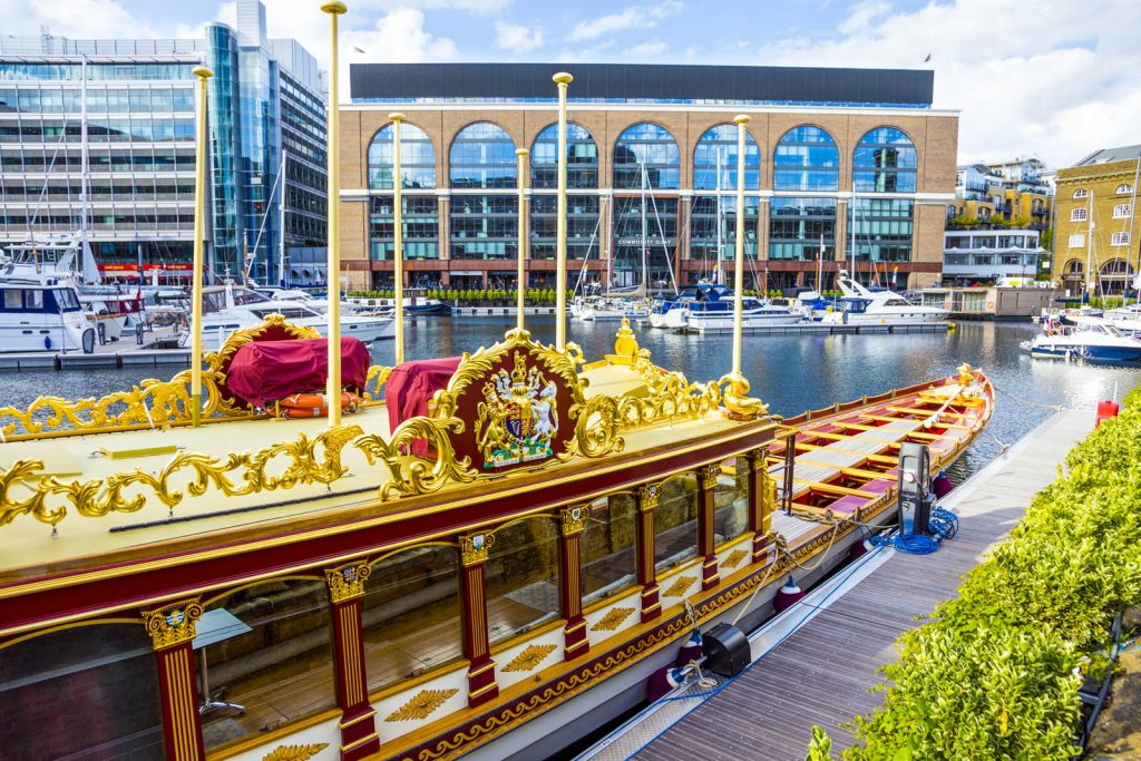 Gloriana - Queen Elizabeth's II rowbarge in St Katharine Docks, London