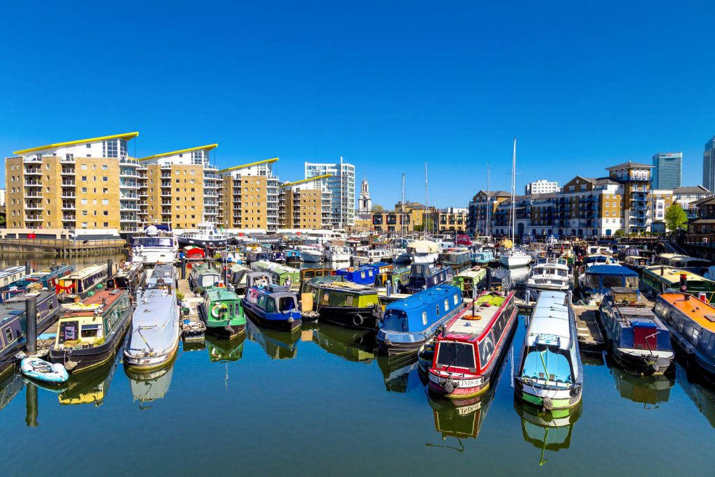 Narrowboats moored at the Limehouse Basin, London