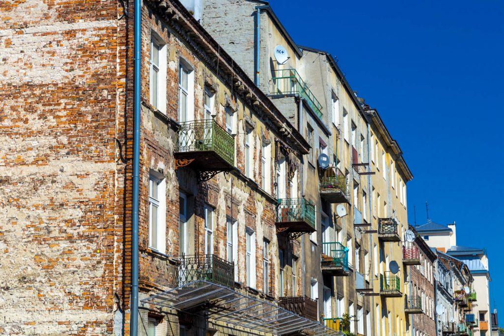 Old art noveau tenament houses on Mala Street in Praga district, Warsaw, Poland