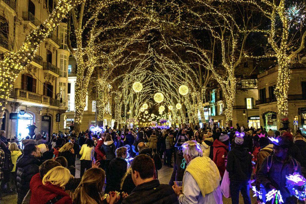 New Years celebrations on Passeig del Born in Palma, Mallorca, Spain