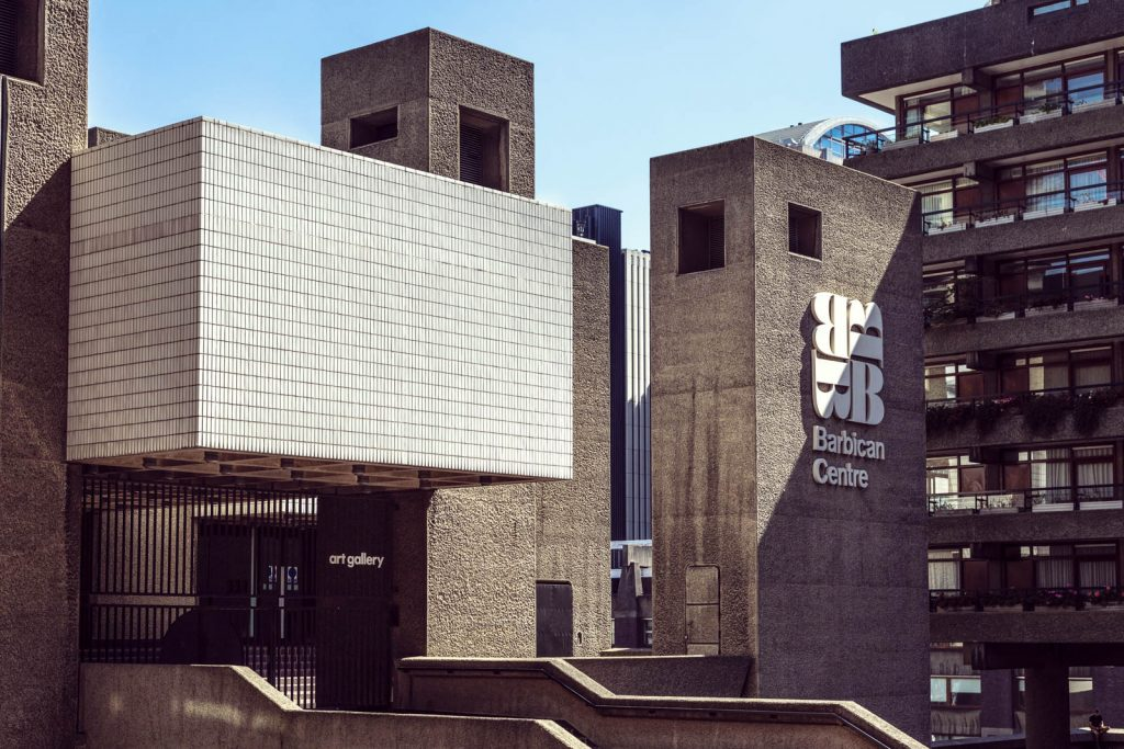 Exterior of brutalist style Barbican Centre on the Barbican Estate, London, UK