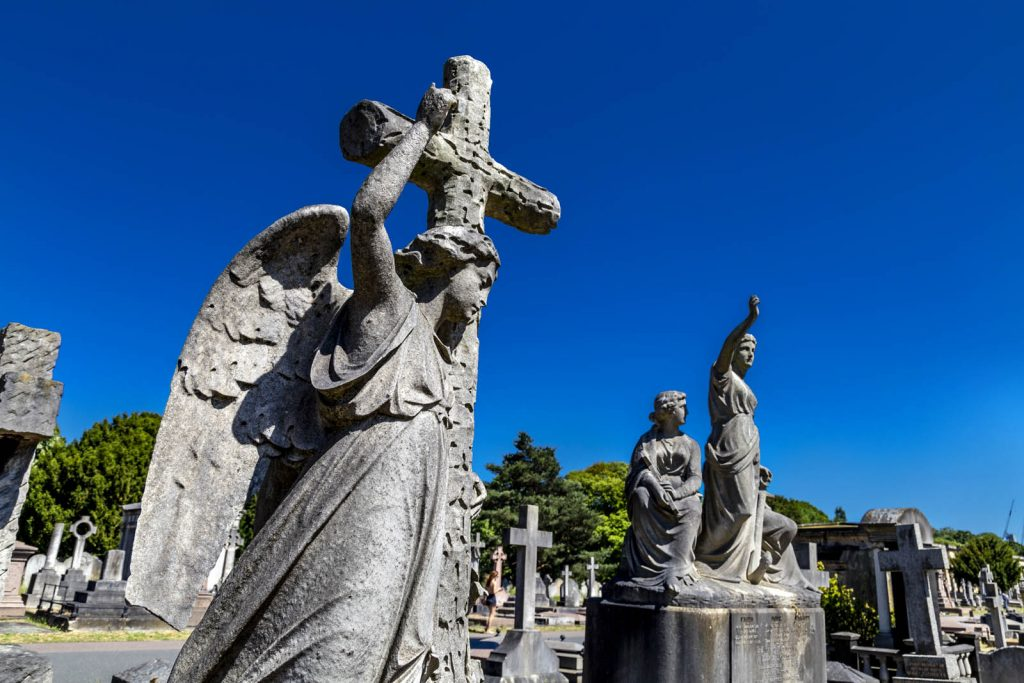 Funerary sculptures at Brompton Cemetery, London, UK