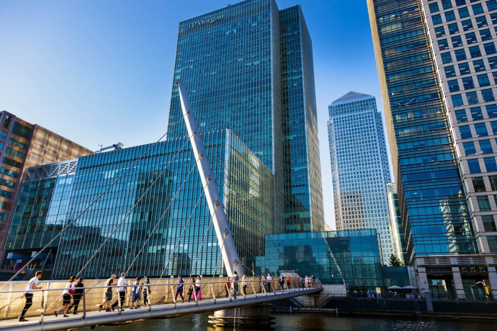 South Quay Footbridge and skyscrapers in Canary Wharf, London, UK