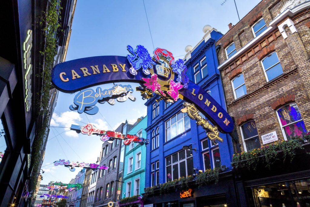 Colourful houses of Carnaby Street, Soho, London, UK