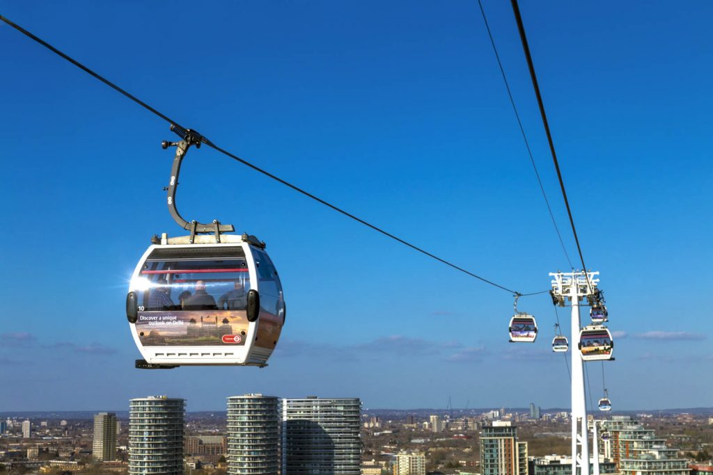 Emirates Air Line in East London, UK