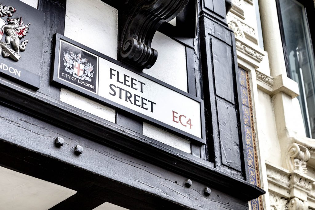 Sign for Fleet Street on exterior of Jacobean style building housing Prince Henry's Room, London, UK