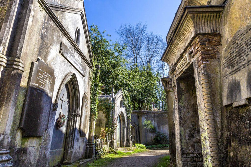 Circle of Lebanon at Highgate West Cemetery, London, UK