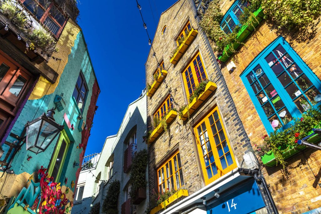Colourful houses of Neal's Yard in Covent Garden, London, UK