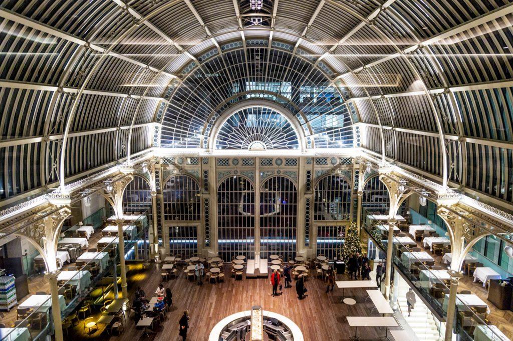 Interior of the Paul Hamlyn Hall at the Royal Opera House restaurant and bar, Covent Garden, London, UK