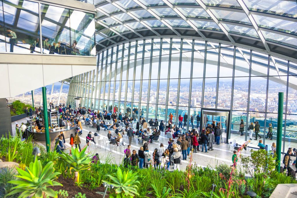Sky Garden rooftop bar, restaurant and viewing terrace in the Walkie Talkie building, London, UK