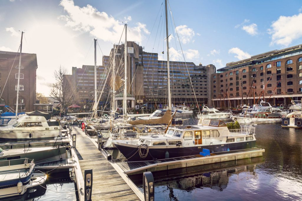 Marina in St Katharine Docks, London, UK