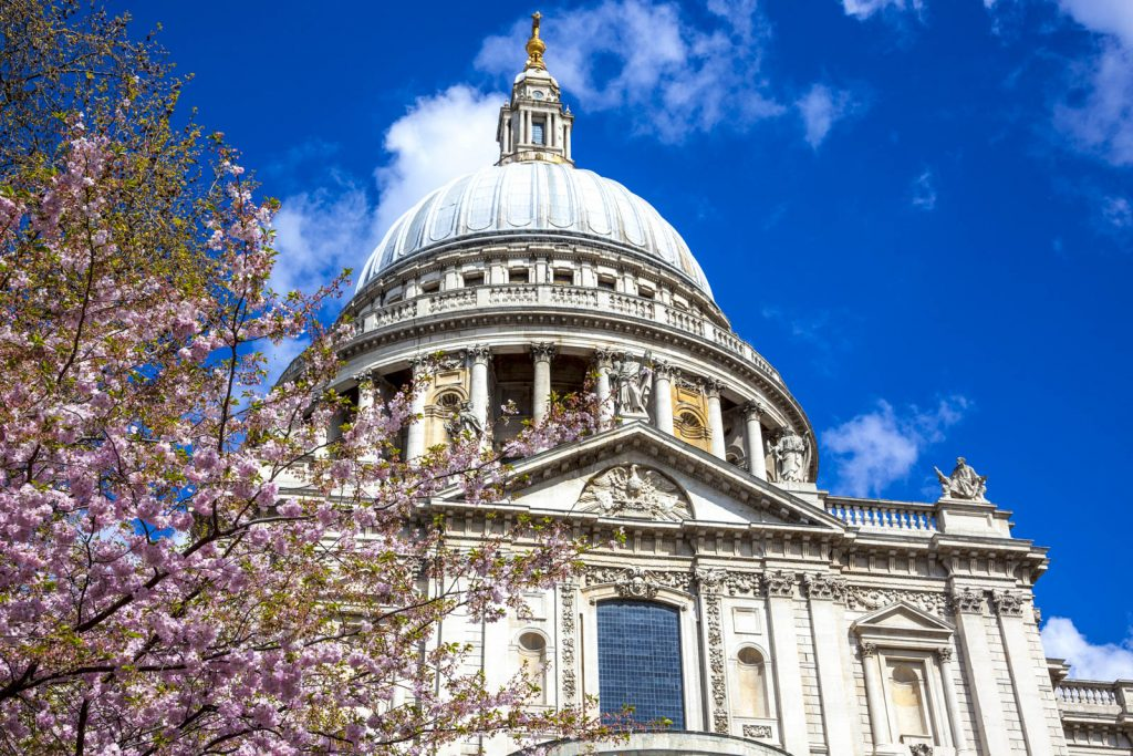 St. Pauls Cathedral in spring, London, UK