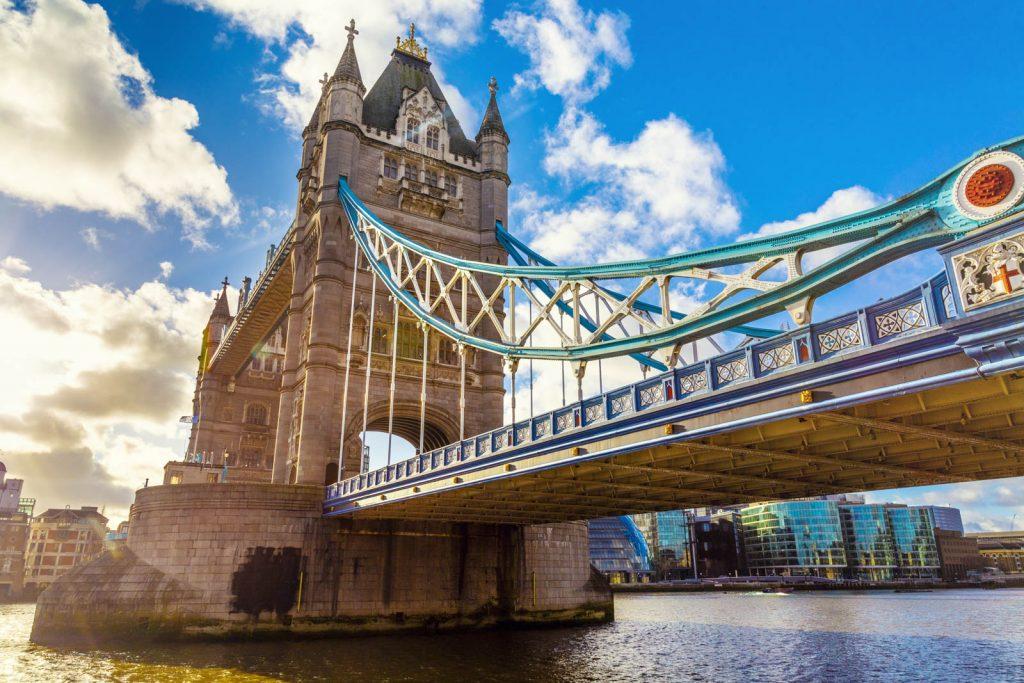Tower Bridge over the Thames River, London, UK