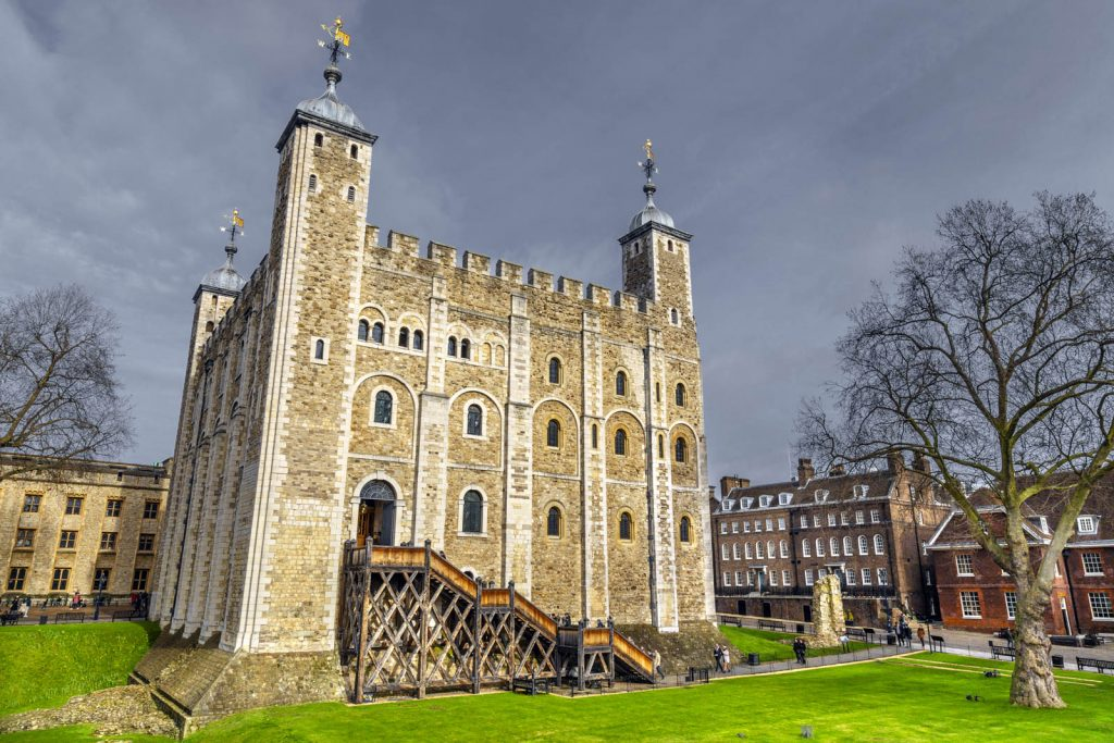 Inner courtyard and the White Tower inside Tower of London, London, UK