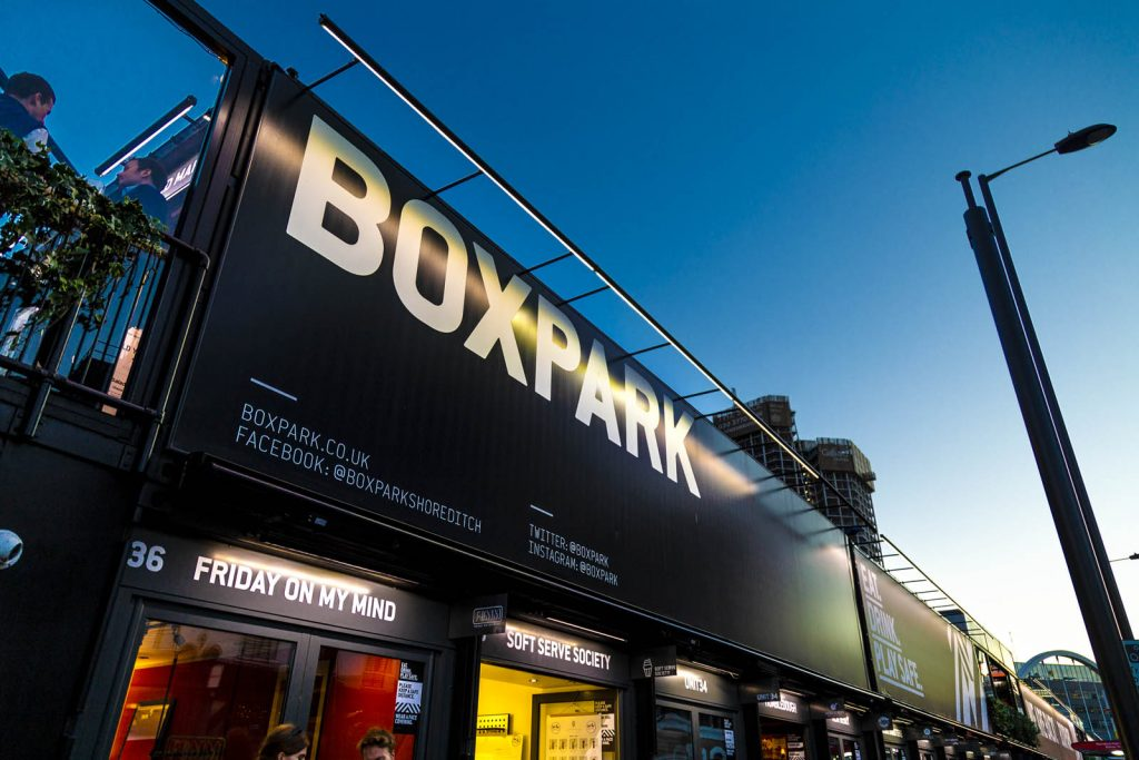 Boxpark Shoreditch - food market and boutiques in repurposed shipping containers, London, UK