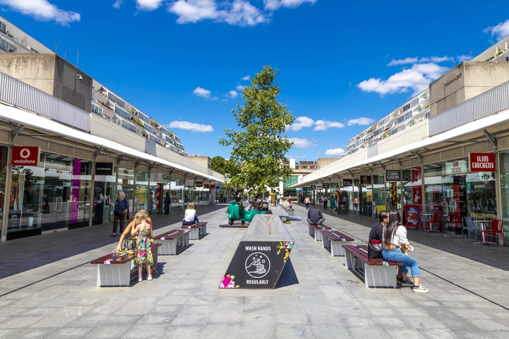 The brutalist style grade Ii listed Brunswick Centre, London, UK