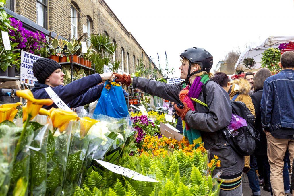 Flower stall at Columbia Road Flower Market, London, UK
