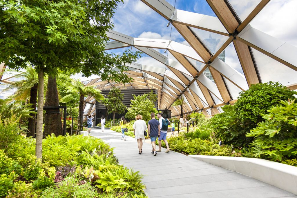 Crossrail Place Roof Garden in Canary Wharf, London, UK
