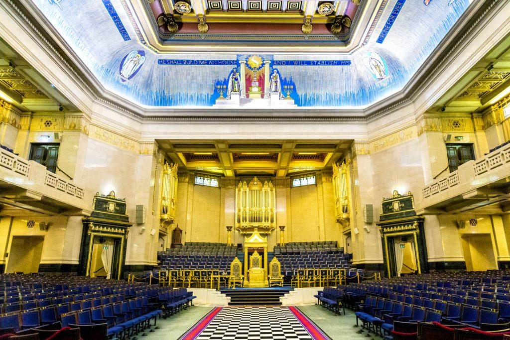 Interior of the Grand Temple at Freemasons Hall, London, UK