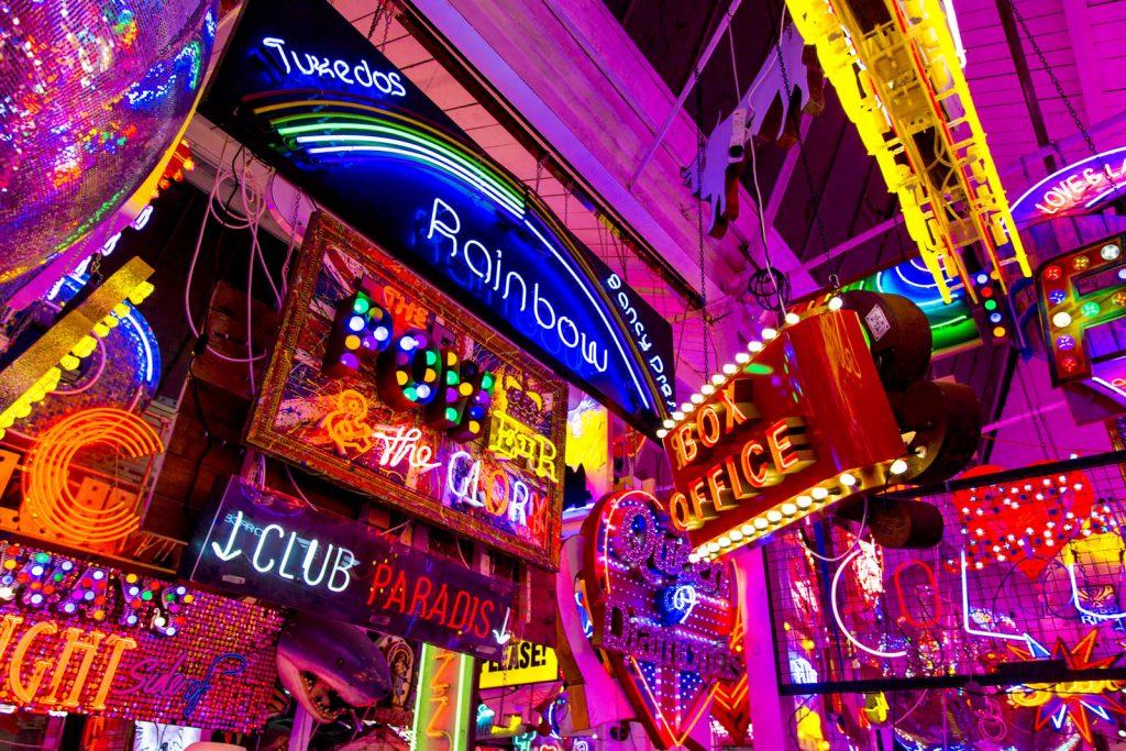Neon signs inside God's Own Junkyard, London, UK