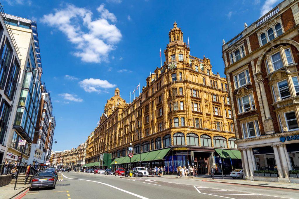 Harrods luxury department store in Knightsbridge, London, UK