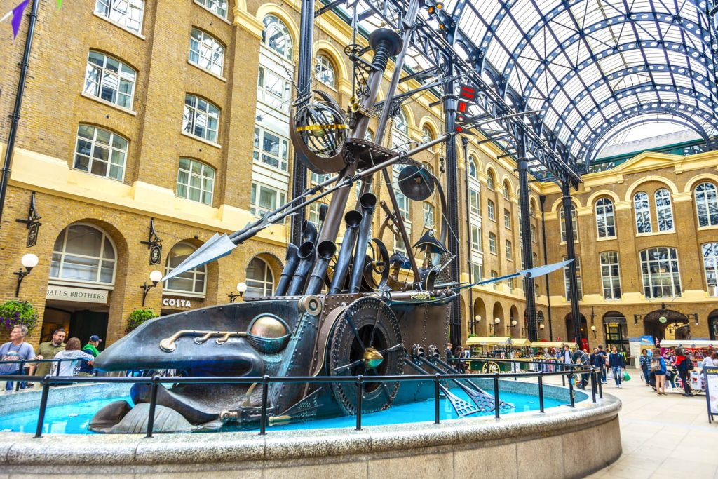 The Navigators sculpture in Hay's Galleria, London, UK