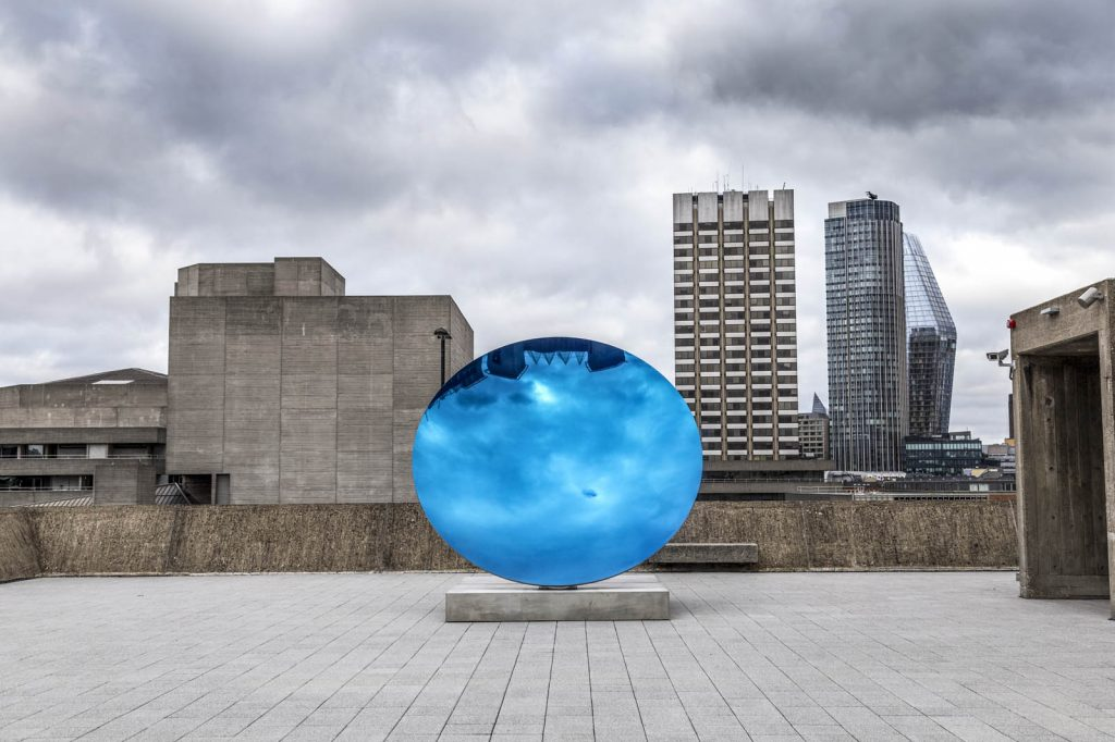 Anish Kapoor mirror sculpture at the Space Shifters exhibition in 2018 at the Hayward Gallery, London, UK