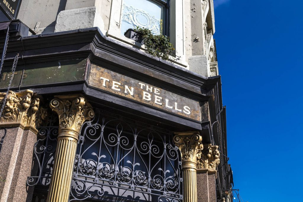 Exterior of The Ten Bells pub famous for it's connection to Jack the Ripper serial killer, London, UK