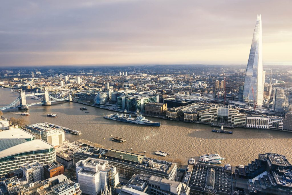View of London, Tower Bridge and The Shard from the Sky Garden, London, UK