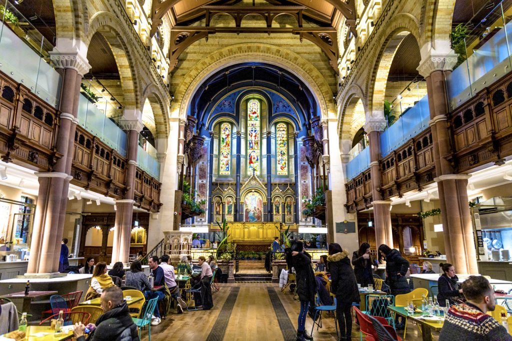 Interior of Mercato Mayfair - street food market in the restored church of St Mark's Mayfair, London, UK