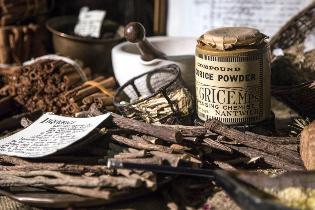 Spices and ingredients at the Old Operating Theatre Museum and Herb Garret, London, UK