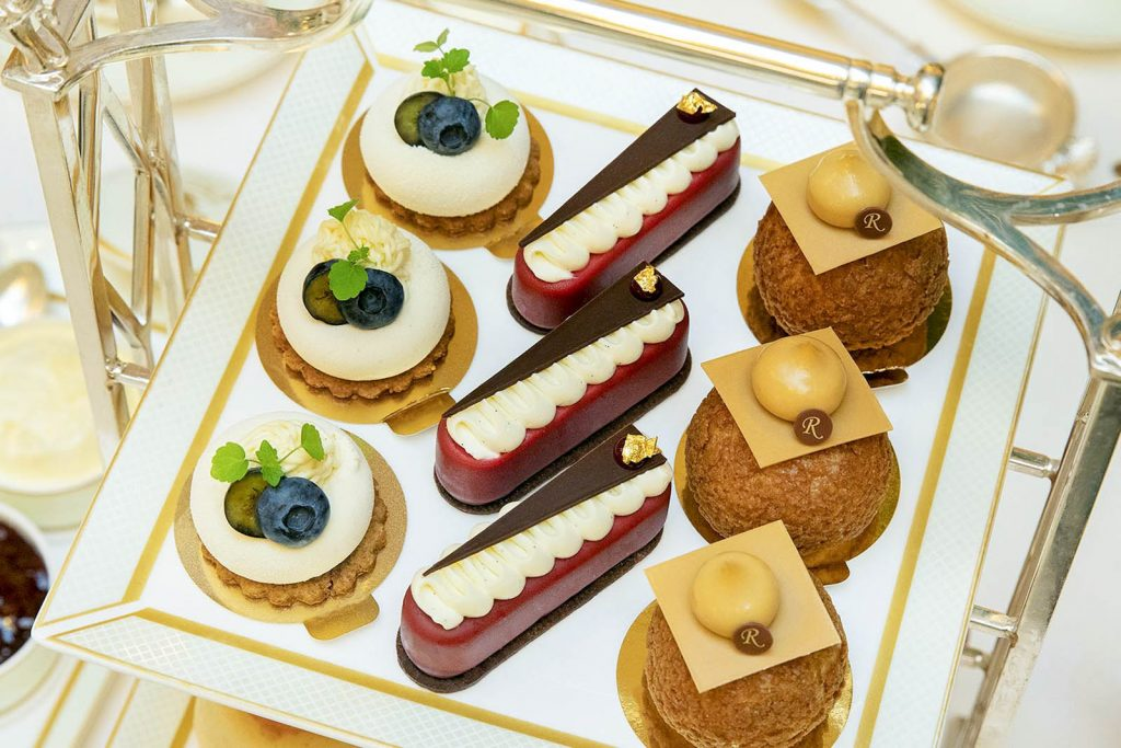 Afternoon tea cakes at the Ritz, London, UK