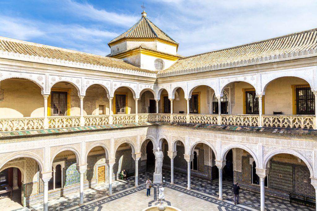 Main courtyard at Casa de Pilatos (Pilate's House), Seville, Andalusia, Spain