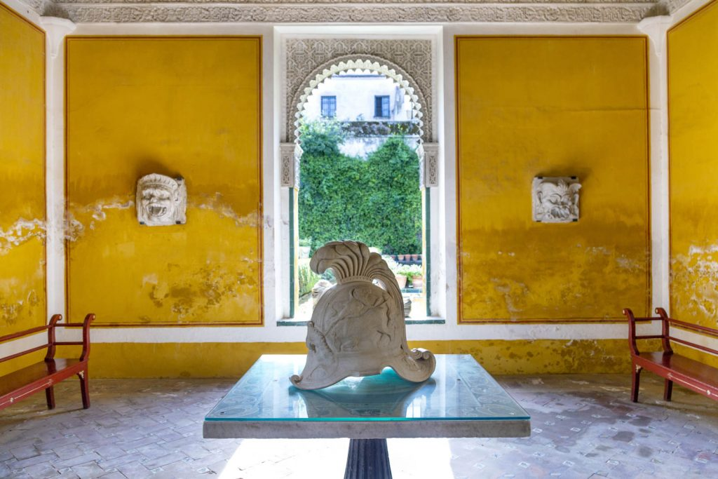 Display of sculptures from the ruins of the Roman Italica at Casa de Pilatos (Pilate's House), Seville, Andalusia, Spain
