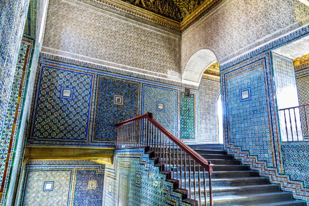 Staircase decorated with azjulejo tiles at Casa de Pilatos (Pilate's House), Seville, Spain