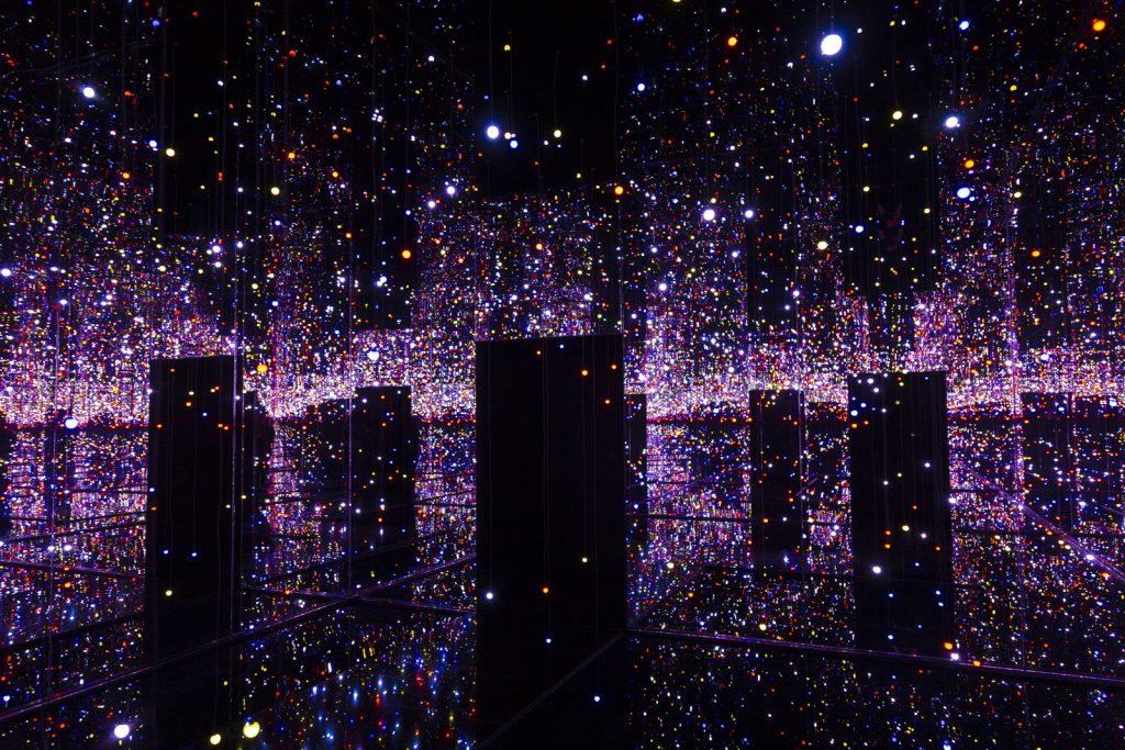'Infinity Mirrored Room: Filled with the Brilliance of Life' at Yayoi Kusama: Infinity Mirror Rooms exhibition 2021, Tate Modern, London, UK